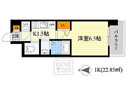 レジュールアッシュ京橋CROSS2 8階1Kの間取り