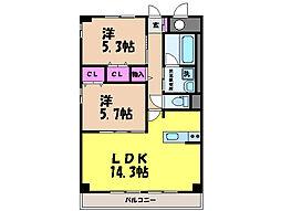 愛媛県伊予郡松前町大字筒井の賃貸マンションの間取り