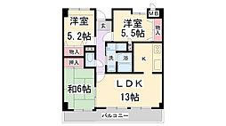 兵庫県伊丹市森本3丁目の賃貸マンションの間取り
