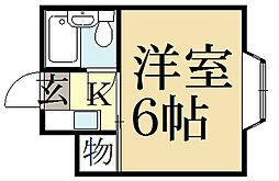 ハイム上賀茂[1階]の間取り