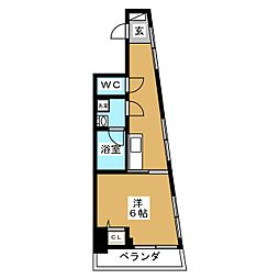 ZOOM横浜桜木町 5階1Kの間取り