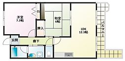 大阪府大阪市平野区瓜破1の賃貸マンションの間取り