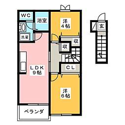 フォーレ 2階2LDKの間取り