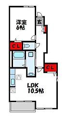 マインリーバ 1階1LDKの間取り