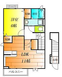 近鉄南大阪線 高鷲駅 徒歩11分の賃貸アパート 2階1LDKの間取り