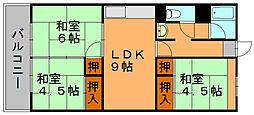 福岡県福岡市博多区相生町2丁目の賃貸マンションの間取り