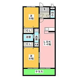 メゾングランジュテ[1階]の間取り