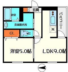 Osaka Metro谷町線 守口駅 徒歩9分の賃貸アパート 1階1LDKの間取り