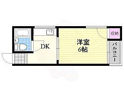 第1生島ハイツ 2階1DKの間取り