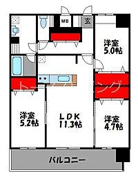 JR鹿児島本線 千早駅 徒歩4分の賃貸マンション 12階3LDKの間取り