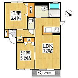 シャーメゾン高良内B棟[2階]の間取り