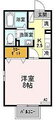 静岡県三島市徳倉1丁目の賃貸アパートの間取り