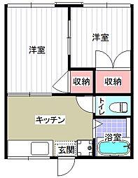 深田台ハイツA棟[203号室]の間取り