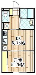神奈川県相模原市中央区矢部2丁目の賃貸アパートの間取り