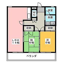 上岡田ガーデンハイツ[2階]の間取り