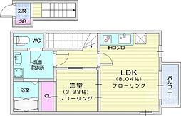 JR東北本線 名取駅 徒歩12分の賃貸アパート 2階1LDKの間取り