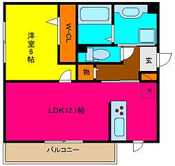大阪府東大阪市吉田2丁目の賃貸アパートの間取り