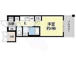 JR大阪環状線 今宮駅 徒歩6分の賃貸マンション 9階1Kの間取り