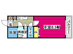リビングステージ広瀬川 4階1Kの間取り