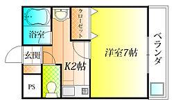 大阪府羽曳野市野々上3丁目の賃貸マンションの間取り