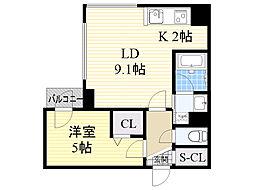 札幌市電2系統 西線16条駅 徒歩2分の賃貸マンション 3階1LDKの間取り