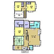1階間取りは約20帖LDKと8帖和室と8帖洋室ウォークインクローゼットに納戸、2階は6帖洋室二部屋と7帖洋室の5SLDKです。