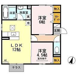 ボヌール千田 A棟[1階]の間取り