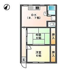 サンメゾン24 A[2階]の間取り
