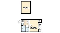 愛知県名古屋市瑞穂区下坂町4丁目の賃貸アパートの間取り