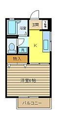 神奈川県横浜市泉区緑園1丁目の賃貸アパートの間取り