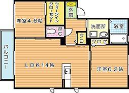 三洋タウン上香月 B棟[2階]の間取り