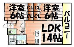 S・E天籟寺マンション[702号室]の間取り