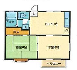 JR高崎線 北本駅 徒歩20分の賃貸アパート 1階2DKの間取り