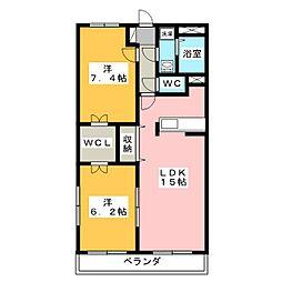 エクセルコートB[2階]の間取り