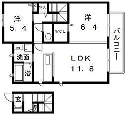 プリムヴェールII番館[2階]の間取り