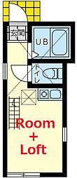 ユナイト羽沢カンペリオ 2階ワンルームの間取り