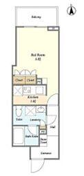 東京メトロ日比谷線 仲御徒町駅 徒歩7分の賃貸マンション 2階ワンルームの間取り