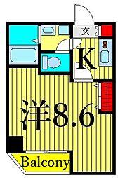 つくばエクスプレス 浅草駅 徒歩10分の賃貸マンション 3階1Kの間取り
