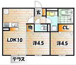 福岡県田川市大字奈良の賃貸アパートの間取り
