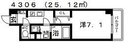 シェモア藤井寺[608号室号室]の間取り