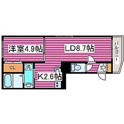 北海道札幌市東区北三十六条東12丁目の賃貸マンションの間取り