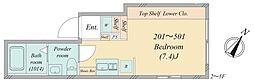南大塚1丁目新築マンション 2階ワンルームの間取り