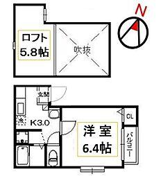 クリスタルK九大南[103号室号室]の間取り