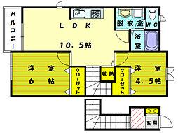 エスポワールB[2階]の間取り