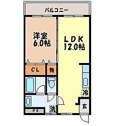 長崎県長崎市城栄町の賃貸マンションの間取り