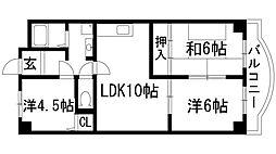 兵庫県宝塚市野上1丁目の賃貸マンションの間取り