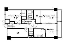 ライオンズマンション大和八木[5階]の間取り