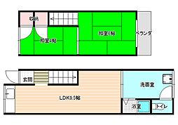 [テラスハウス] 大阪府柏原市平野1丁目 の賃貸【/】の間取り