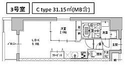 ミラージュパレス南船場[1403号室号室]の間取り