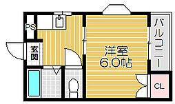 京阪本線 西三荘駅 徒歩2分の賃貸マンション 2階1Kの間取り